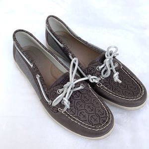 Sperry Grey Embossed Anchor Loafers Slip On Shoes
